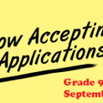 Now Accepting Gr.9-12 Applications for September 2019